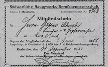 Mitgliedschein der Baugewerksberufsgenossenschaft von 1921